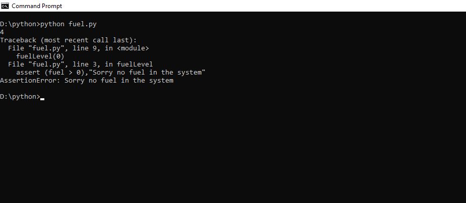 assertion error python