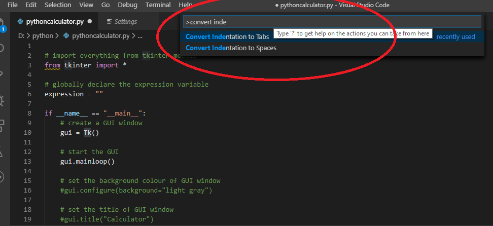 indentationerror unindent does not match any outer indentation level visual studio code